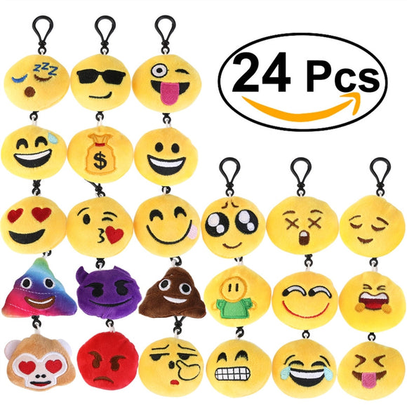 BESTOMZ 24pcs Mini Face Expression Plush Key Chain Cushion Stuffed Plush Toy Doll Keychain Bag Accessory - daily stop & shop