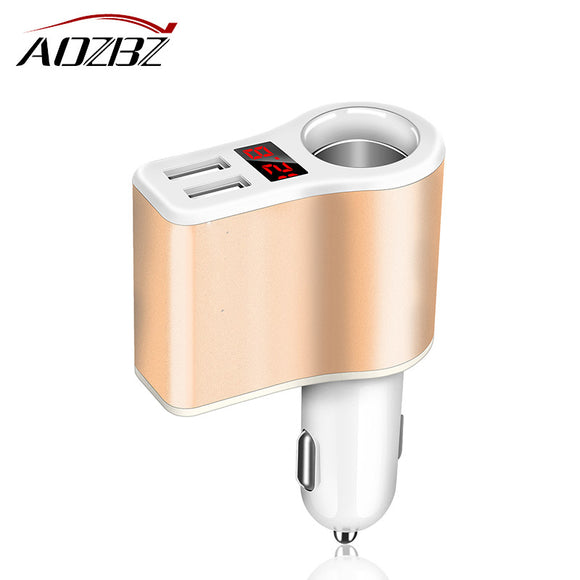AOZBZ 3.1A Dual USB Car Charger Adapter Smart Fast Charging Cigarette Lighter Socket Support Voltmeter Current Display 12V - daily stop & shop