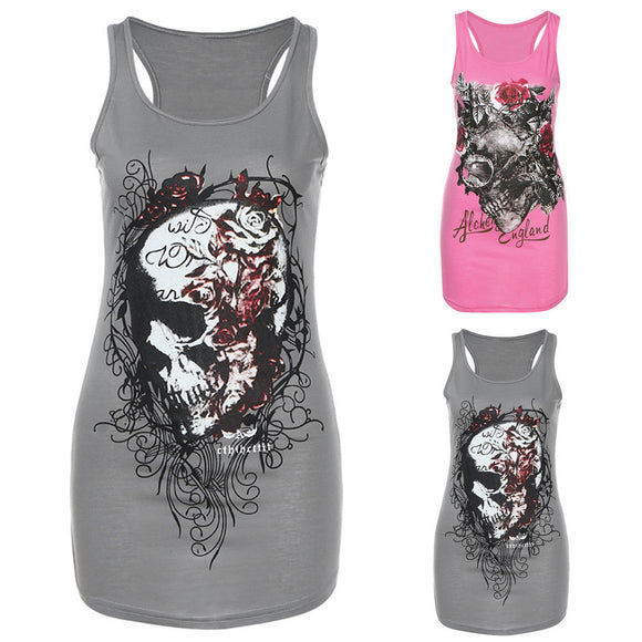 Summer Tops Women Skull Skeleton Print Vest Tops Blouse Club Party T-Shirt Tee