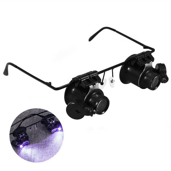 20X Double Eye Watch Repair Magnifier Glasses Loupe Lens Jeweler Watch Repair With LED Light - daily stop & shop