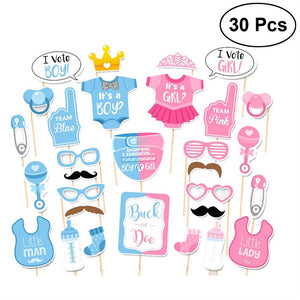 30pcs Girls Boys Baby Shower Birthday Party Gender Reveal Photo Booth Props on Sticks Set Decorations for Party Favors - daily stop & shop