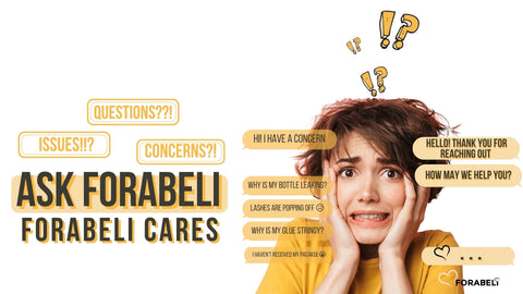 """Landscape photo. On the left part written is the statement """"Questions, Issues, Concerns?! Ask Forabeli. Forabeli Cares"""". On the right part is a picture of a woman looking confused and panicked with bubble text of customer service conversation."""