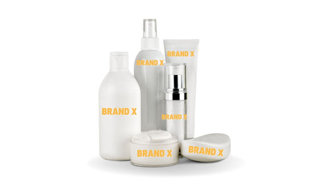 """Landscape picture of beauty products with written labels on yellow font color uniformly branded as """"BRAND X"""
