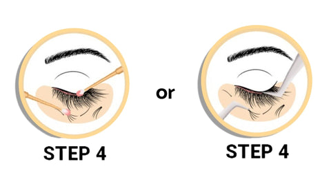 """Shown is a picture of two yellow circles separate from each other, and in the center outside of both circles is the word """"or"""".  Two circles are two different option of step 4 of removing lash extensions.option 1 is to use a micro swab while option two uses tweezers"""