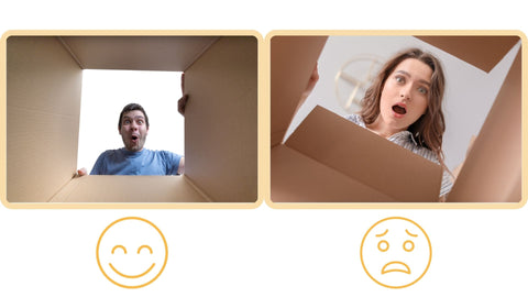 Collage of two photos. Photo on the left is the point-of-view of a guy wearing a blue shirt who seemed satisfied with his package. Photo on the right is the point-of-view of a lady wearing a striped collared shirt who seemed disappointed with her package.