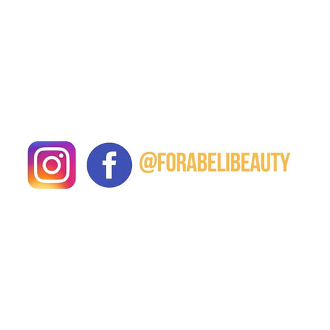 @Forabelibeauty username and Instagram and Facebook icons