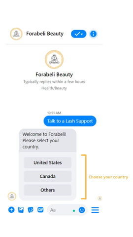 Screenshot of Forabeli chatbox with an automated button which gives option to which country one is located