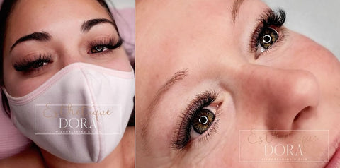 Captured top view photo of a lash client wearing a mask and a waxed eyebrows and a hybrid eyelash extension set
