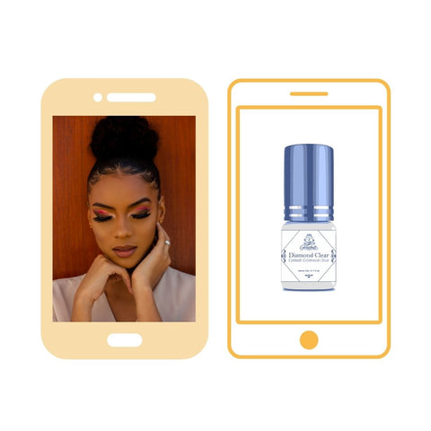 2 Vector phones with pictures on their screens. On the left phone is a picture of a lady with eyelash extensions on, on the right phone is a captured picture of Forabeli Diamond Clear glue