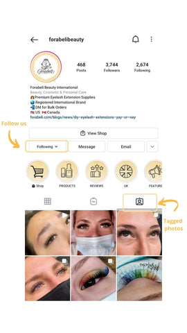 Screenshot of Forabeli Beauty's Instagram page showing 2 rows of photos Forabeli is tagged to