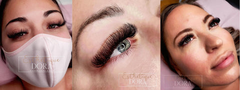 Captured top view photo of a lash client with her tinted eyebrows and a mega volume eyelash extension set