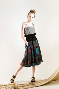 black paperbag skirt