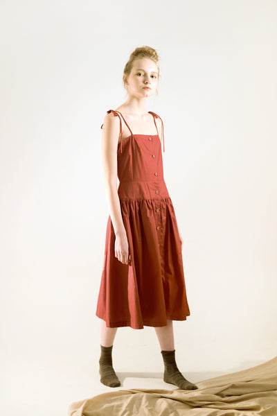 Eva Red Terracotta Midi Dress