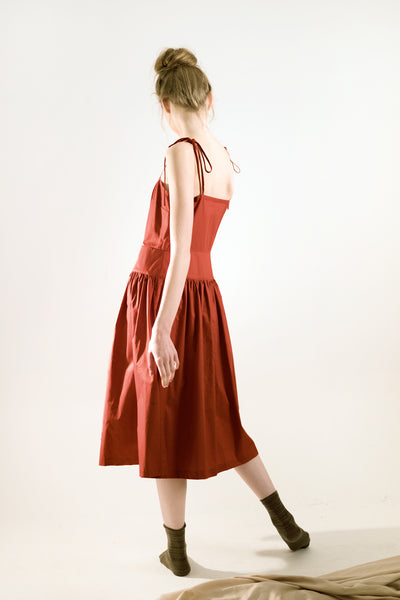 red terracotta midi dress