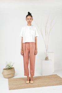 White cropped cotton short sleeve shirt mandarin collar