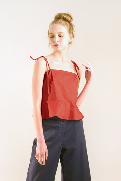 red crop top, spaghetti strap, flounce peplum top