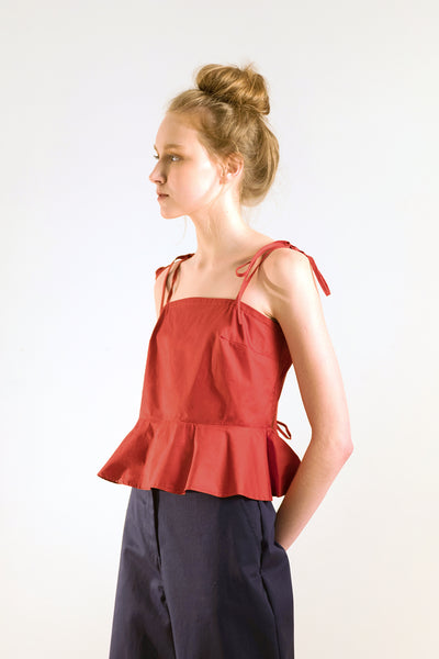 Red peplum top, flounce top with spaghetti strap