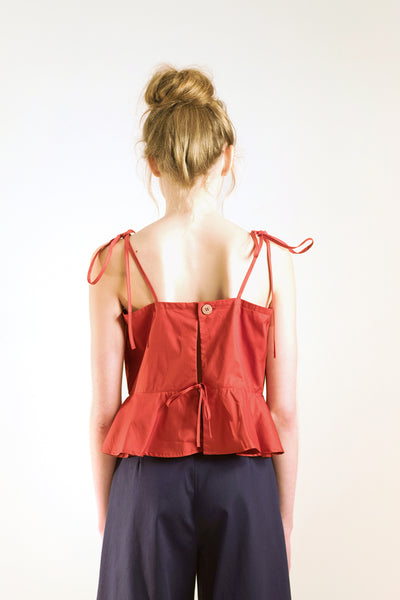 summer backless flounce top with spaghetti strap