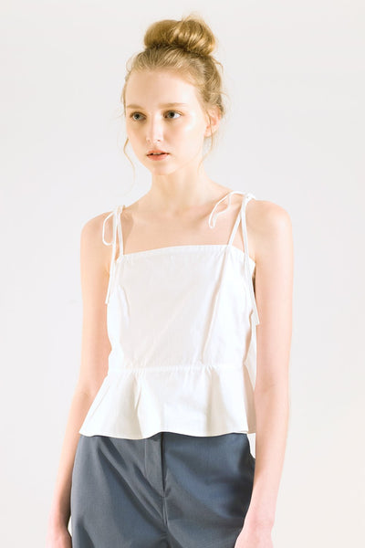 White summer peplum top with spaghetti strap