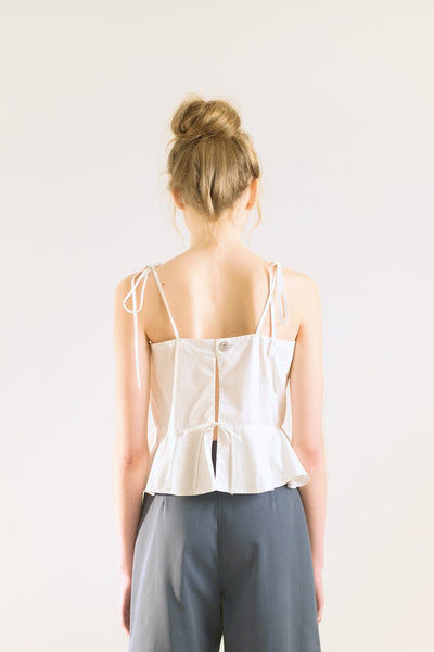 backless peplum white top with spaghetti strap