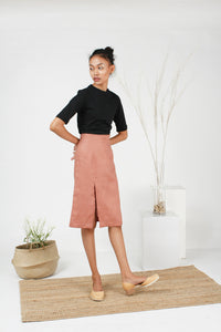 coral pink high waisted skirt