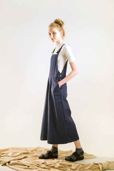 womens wide leg overalls navy