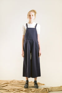 navy wide leg overalls denim