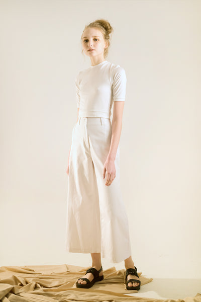 high waisted wide leg pants white