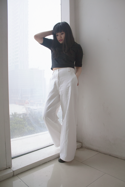 Vicky White High-waisted Pants