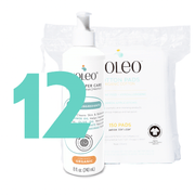 Value Pack NOLEO Diaper Cleanser & Moisturizer + Organic Cotton Pads NOLEO DUO (Pack of 12)