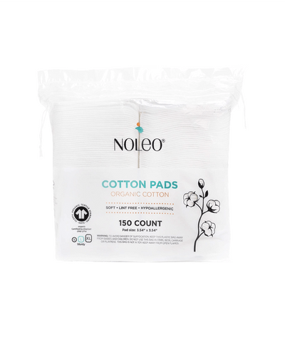 NOLEO Organic Cotton Pads (Pack of 12) - Large - Pressed