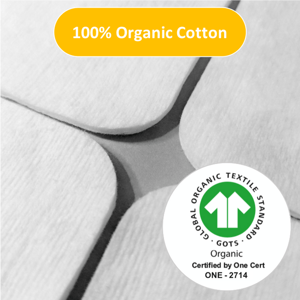 NOLEO Organic Cotton Pads (Pack of 6) - Large - Pressed