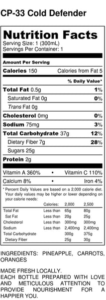 Cold Defender Nutrition Facts