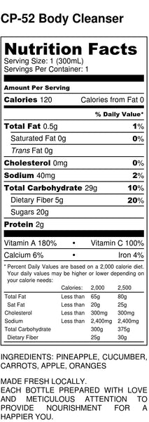 Body Cleanser Nutrition Facts