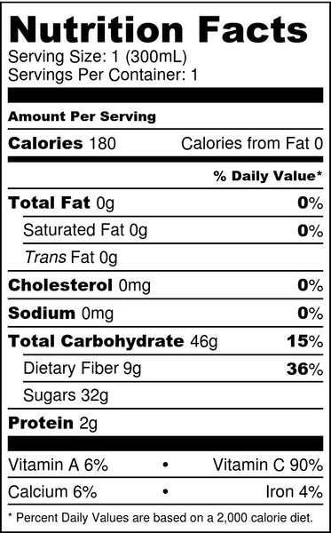 Tropical Fuel Nutrition Facts