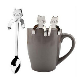 Cute Stainless Steel Cat Tea Coffee Spoon