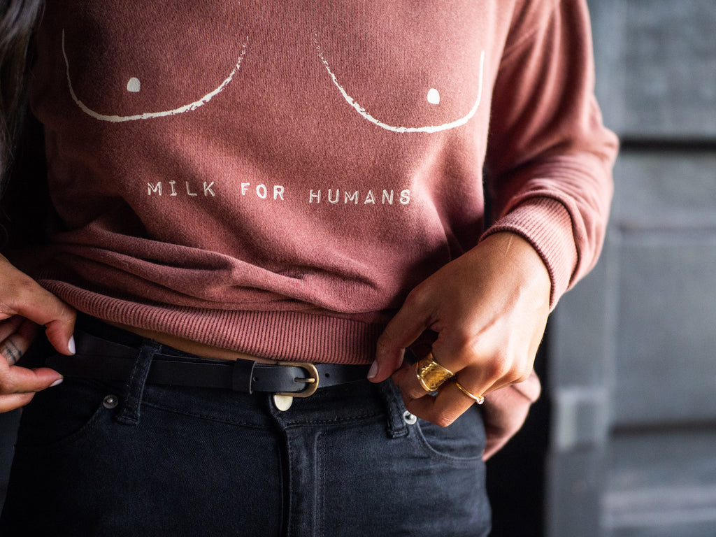 Milk for Humans - Womens Oversized Sweater Russet