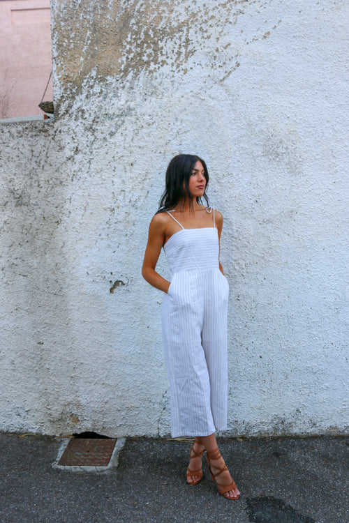 Women's white striped tie-up jumpsuit