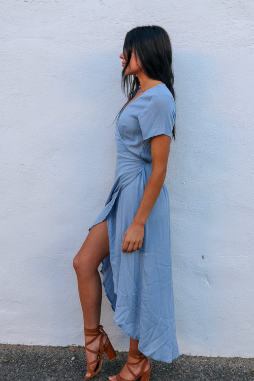 Women's blue wrap dress