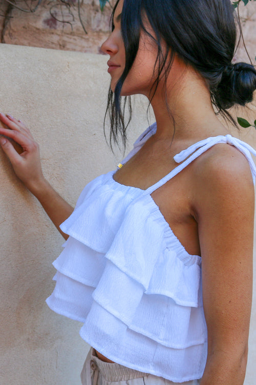 Women's white ruffled tie-up crop top