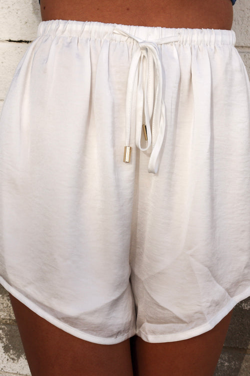 Women's white tie-up shorts