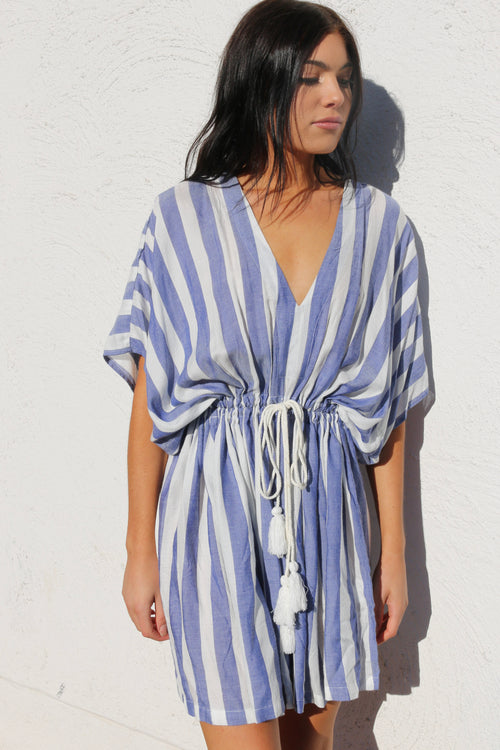 Women's white and blue striped dress