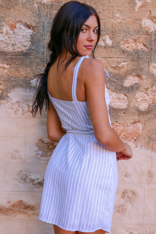 Women's white striped tie-up mini dress