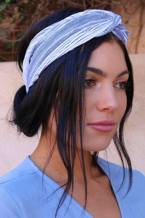 Women's blue and white striped headband