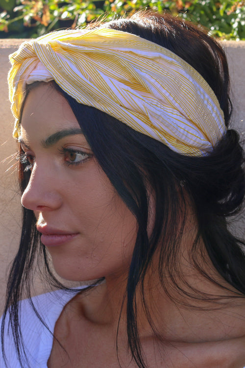 Women's yellow and white striped headband headwrap