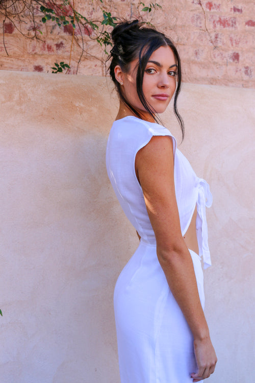 Women's white tie-up midi dress