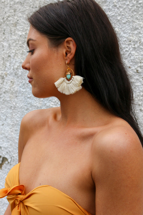 Himalayan earring in cream with tassels