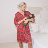 Red Plaid & Hunter- Robe and Swaddle Set