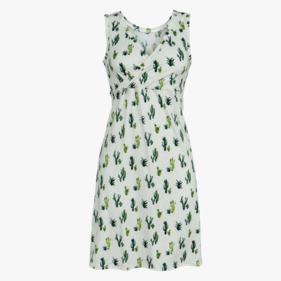 Green and White Cactus - Women's Nightgown - Kins & Kay
