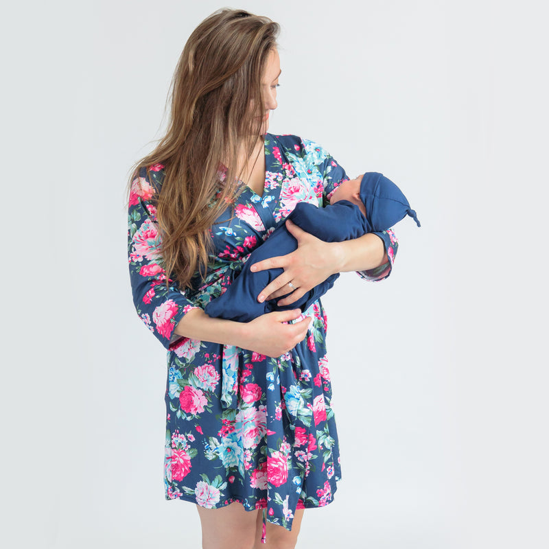 Cora + Navy - Robe and Swaddle Set